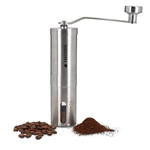 Navaris Manuelle Kaffeemühle aus Edelstahl - mit Keramikmahlwerk stufenlose Mahlgradeinstellung - 16 x 4,8cm - Hand Kaffee Espresso Mühle manuell