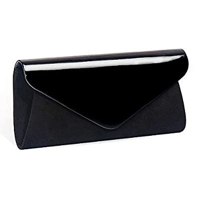 Patent Leather Clutch Classic Purse , WALLYN'S Evening Bag Handbag With Flannelette