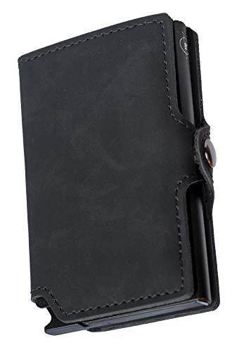 Mini Wallet | Carteira de alumínio e couro| All Black