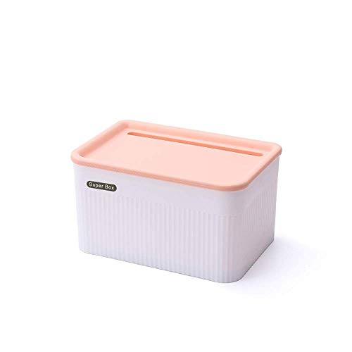 Suytan Waterproof Tissue Box Cover Holder, Wall Mount Self Adhesive Toilet Paper Holder with Storage Box Shelf, Plastic Paper Towel Dispenser for Bathroom Living Room (Color : Blue, Size : L),Pink,Sm