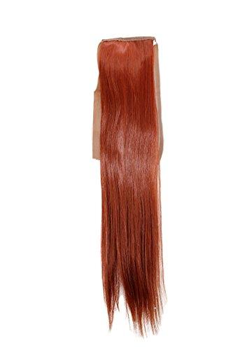 WIG ME UP ® - YZF-TS18-130 Haarteil, Zopf schmal Seitenzopf Cosplay Henna-Rot, Rostrot glatt 18