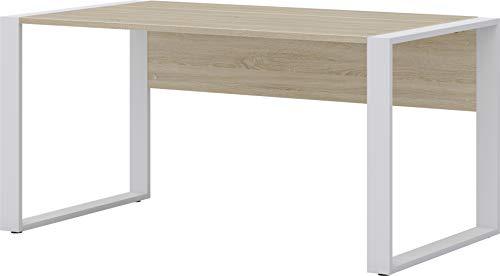 RÖHR Schreibtisch 150 cm Möbel Sonoma Eiche Nachbildung Braun Weiß Holz Metall (Sonoma Eiche Nachbildung, Holz/Metall)