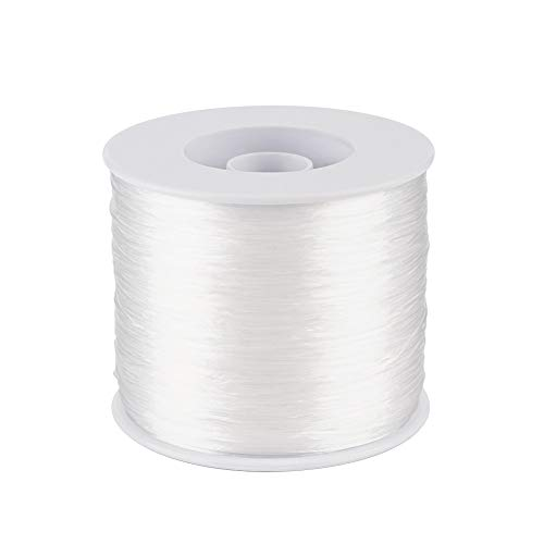 Craftdady 500 Meters Elastic Beading Thread 0.3mm High Stretchy Fibre Elastic Crystal White String with Spool for Beading Jewelry Making