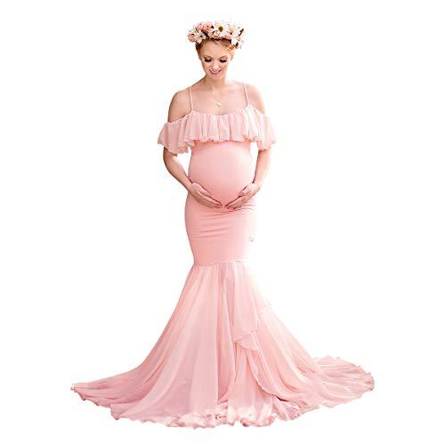 FYMNSI Vestido largo de sirena, elegante, para embarazadas, con volantes de gasa, con tirantes Rosa. S