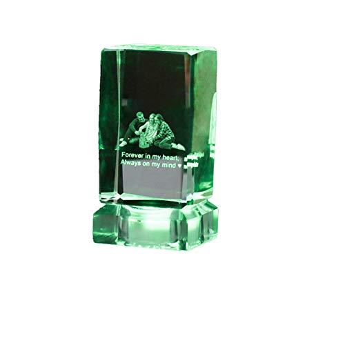 Luz de foto personalizada Luz de cristal rectangular Luz de música Bluetooth Luz de grabado láser Luz de noche de 7 colores(Rectángulo 10 * 5cm/3.9 * 2IN)