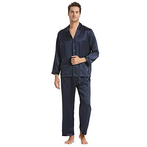 LilySilk(リリーシルク)シルクパジャマ メンズ 22匁6Aランク高級シルク 敏感肌・乾燥肌にお勧め 裸肌感 フルレングス 前開き 洗える 冷感【ネイビーブルー/XL】