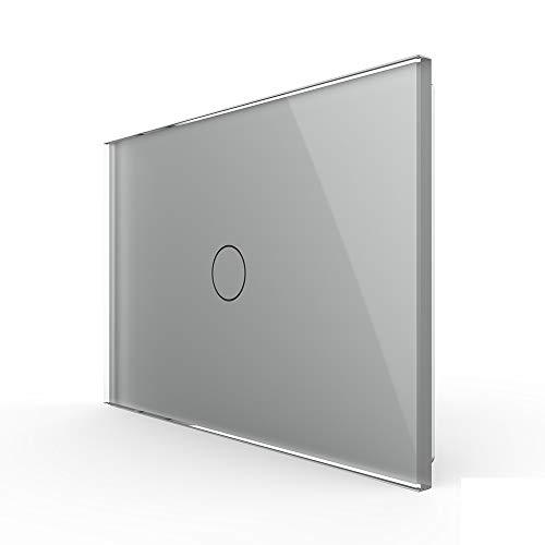 LIVOLO grigio Interruttore tattile a parete(senza neutro), bianca Interruttore a parete con lampadina unipolare con indicatore LED, pannello in vetro temperato antigraffio,1 gruppo 1 via,VL-C901-3IG