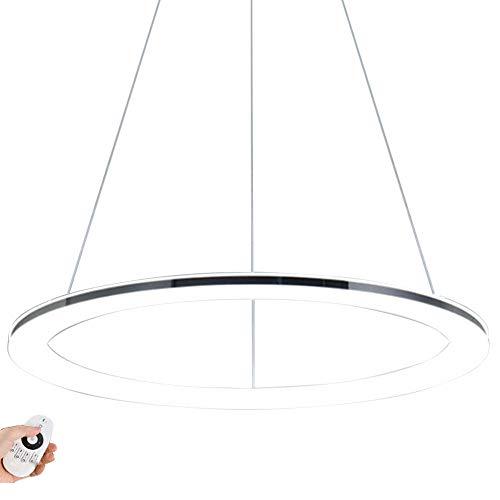 Moderne LED Ring-Pendelleuchte Dimmbar Design Edelstahl Pendellampe mit Fernbedienung Hängeleuchte Decken Lampe Höhenverstehbar für Wohnzimmer Schlafzimmer Esszimmer Büro,Chrom (φ80CM)