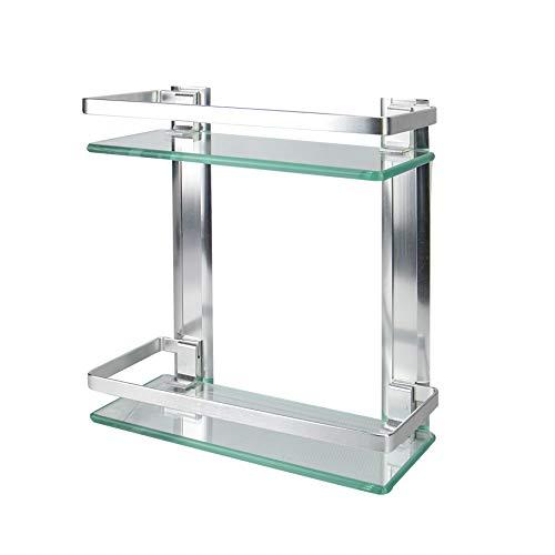 Ripiano in vetro temperato con binario in alluminio | Mensole per bagno a parete | Ripiano di sicurezza in vetro resistente | M&W (2 livelli)