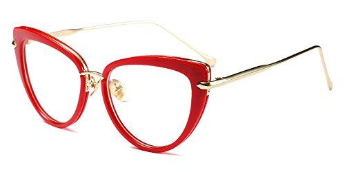 XFentech Herren Damen Retro Brillen Unisex Mode Cateye Klare Linse Brillen Klassische Sonnenbrille, Rot/Transparent