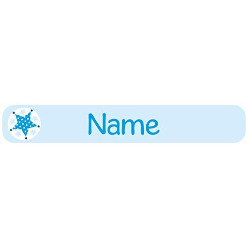 Mein Zwergenland 60 Étiquettes de Nom avec Motif et Nom - Bleu étoile