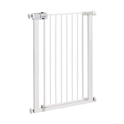 Safety 1st Easy Close Extra Tall Metal Barrera de seguridad extra alta para puertas y escaleras, altura 91 cm, Puerta de seguridad 80 cm hasta 94 cm con extensiones, Blanco