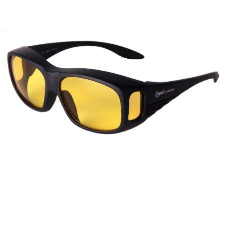 Rapid Eyewear Schwarze NACHTBRILLE ZUM AUTOFAHREN. Nachtsicht Überbrille. Helle Gelb Linsen mit HD Anti Glanz Blaulichtfilter. Damen und Herren Sonnenüberbrille für Auto. Auch Winter Brille