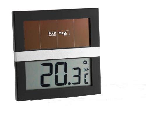 TFA Dostmann Eco Solar Digitales Solar-Thermometer, solarbetrieben, energiesparend, zur Kontrolle der Innentemperatur