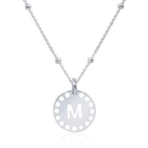 Collar Inicial (M) para Mujer, Chica Joven en Plata de Ley 925 con cadena de 45 cm