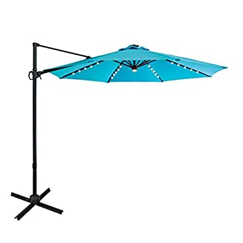 FLAME&SHADE 10 ft Solar LED Light Outdoor Cantilever Offset Patio Umbrella and Stand with Adjustable Rotate and Tilt Aqua Blue