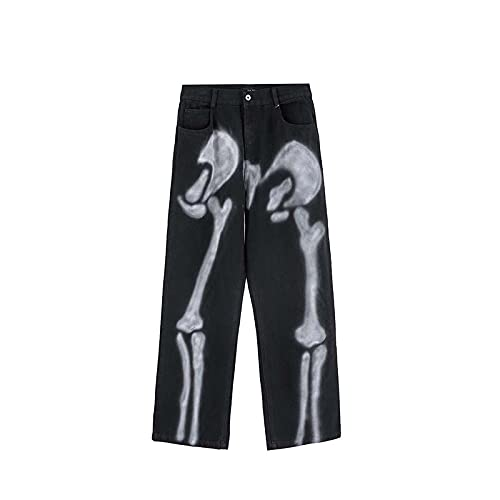Astemdhj Vaqueros para Hombre Jeans Skeleton Denim Hip Hop Jeans Pantalones De Diseñador Hombres Ropa Mujeres...