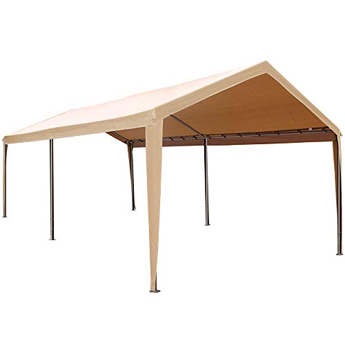Abba Patio Portable Lightweight Carport Canopy 10 x 20 ft Easy to Assemble Garage Boat Shelter Car Tent for Party, Wedding, Garden, Outdoor Storage Shed with 6 Steel Legs, Beige