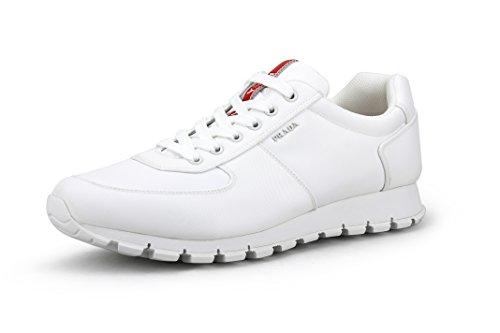 Prada 4E2942 Herren Sneaker, Nylon, Weiß, Weiá (weiß), 46 EU