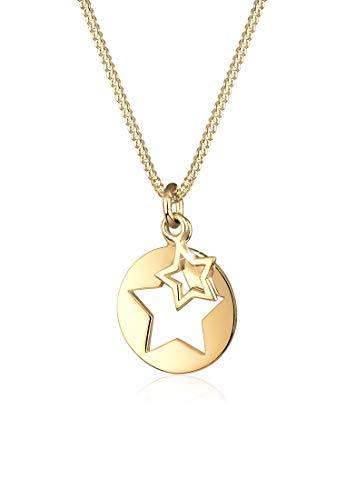 Elli Halskette Sterne Astro Münze Cut Out 925 Sterling Silber