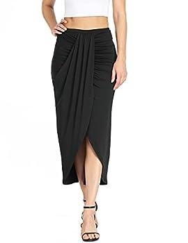 Dilgul Women s Casual Slit Wrap Asymmetrical Elastic High Waist Midi Draped Skirt Black L