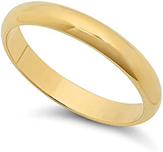 14k Yellow Gold Heavy Plated 3mm Smooth Domed Wedding Band Ring + Microfiber Jewelry Polishing Cloth
