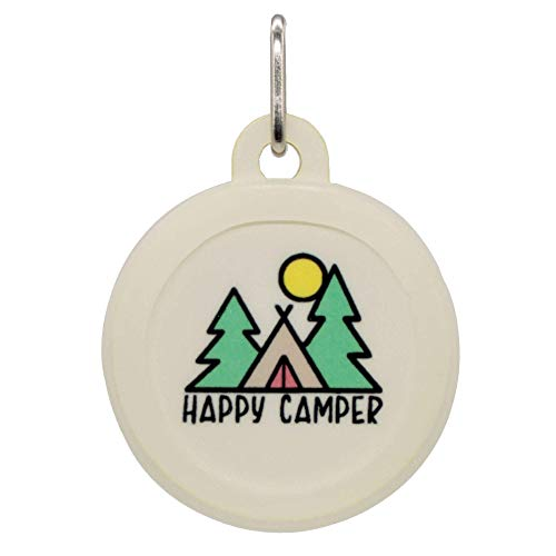Personalized Happy Camper Camping Pet ID Name Tag with Silencer for Cats or Dogs by Oh My Paw'd