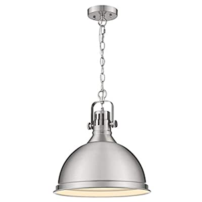 Emliviar 1-Light Industrial Pendant Lighting, 14 inch Modern Dome Hanging Light with Metal Shade, Black Finish, 4054L BN/BK