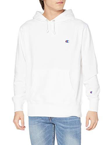 [チャンピオン] パーカー スウェット トレーナー 長袖 裏毛 定番 ワンポイントロゴ刺繍 シーズンレス トレーニングウェア スポーツウェア フーデッドスウェットシャツ C3-LS151 メンズ ホワイト L