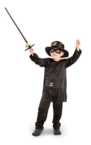 Folat 21894–Zorro Costume enfant 5pièces, 6-8 ans, 116-134 cm
