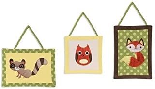 Three Piece Green Yellow White Woodland Animals Baby Plush Wall Art Set, Orange Nursery Fox Owl Themed Hanging Decor, Infant Forest Raccoon Nature Wild Kids Cute Adorable Childrens Home Accent, Cotton