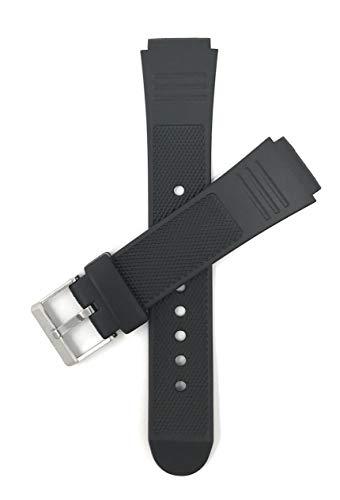 Bandini 18mm Schwarz Gummi Uhrenarmband, Sports, Gerippt, Lauffläche, 2 Federstege inklusive