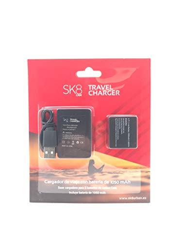 SK8 CAM - Pack de Cargador y batería de 1050 mAh para cámara, Color Negro