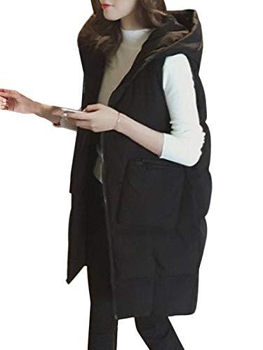 Onsoyours Mujer Chaleco Abrigo Largo con Capucha Bolsillos Cálidos Delgado Chaqueta Sin Mangas Invierno Al Aire Libre Abrigo Largo Vest A Negro L