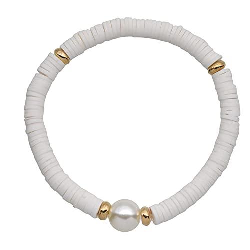 SJHFG Pulsera elástica de perlas de terracota suave, hecha a mano, ajustable, pulsera elástica para mujer, color blanco