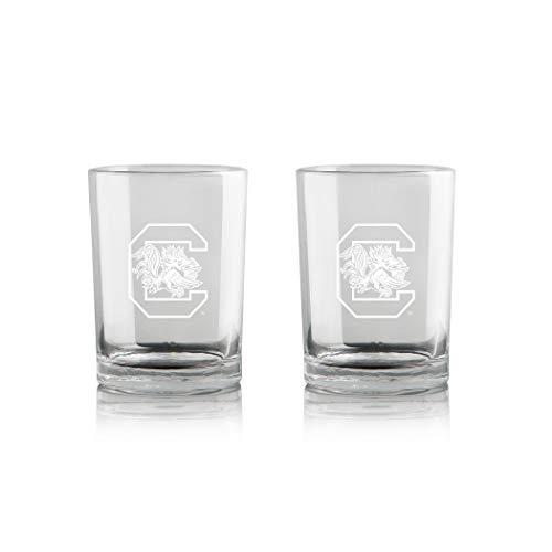 Duck House NCAA South Carolina Fighting Gamecocks Whiskey Rocks Glass | Frosted Team Logo | Lead-Free | Premium Glassware | Set of 2 | 12oz