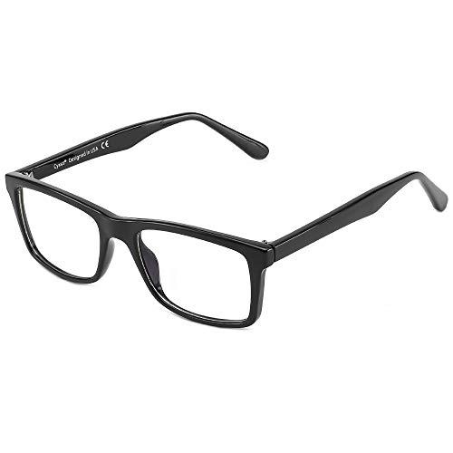 Cyxus Filtro de Luz Azul Gafas de Computadora Anti Fatiga de Ojos Lentes Transparentes para Hombres y Mujeres Bloqueo UV (Marco Rectángulo Negro 8551)