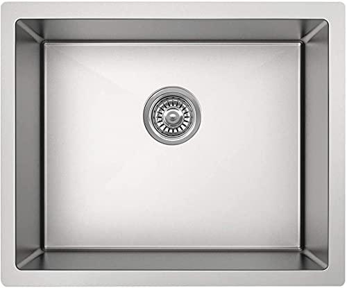 KAIBOR fregadero un seno 50x43x19cm empotrado de acero inoxidable Cocina, desde armario bajo mueble 60cm, incluyendo escurridor rebosadero y juego de desagüe, sobre encimera, bajo encimera o enrasado