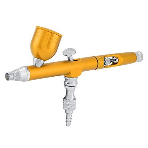 Pistola Pulverizadora De Pintura 0.3 mm Multiuso Propósito Acción por Gravedad Kit De Aerógrafo Pistola De Aire Comprimido Pistola De Tatuaje Herramienta De Uñas(Amarillo)