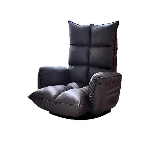 NUANXIN Canapé Paresseux Pliant avec Chaise de Sol coussinée et Balcon de Chaise de Jeu Sofa Lounge,Black