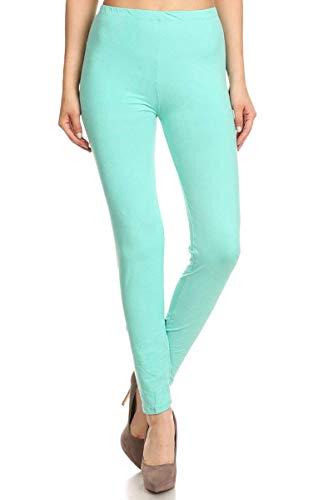 FUNGO Leggings Damen Lang Capri Bunte Leggins Yoga Damen Sporthose (40, Mint)