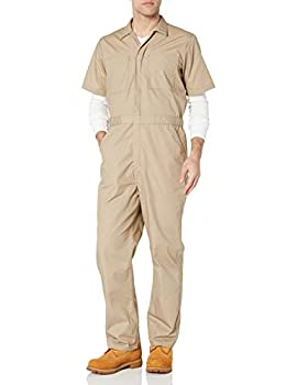 """Amazon Essentials Men s Stain & Wrinkle-Resistant Short-Sleeve Coverall Khaki X-Large - 30"""" Inseam"""