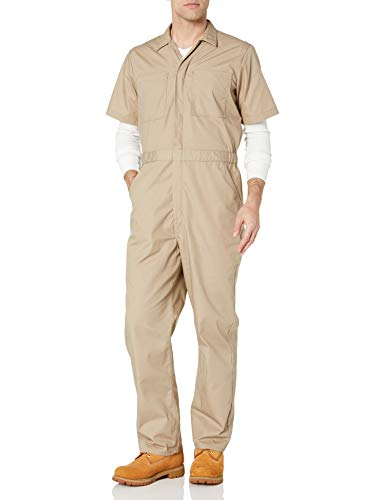 Amazon Essentials Stain & Wrinkle-Resistant Short-Sleeve Coverall Overalls-And-Coveralls-Workwear-Apparel, Kimly Cage, Large-30 Inseam