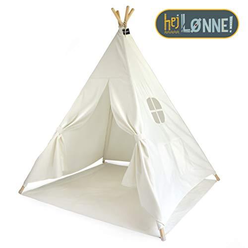 Hej Lønne Tipi Zelt für Kinder - weiß einfarbig - Kinderzelt Spielzelt Geschenkidee - Mit Bodendecke und Fenster - Für Haus und Garten