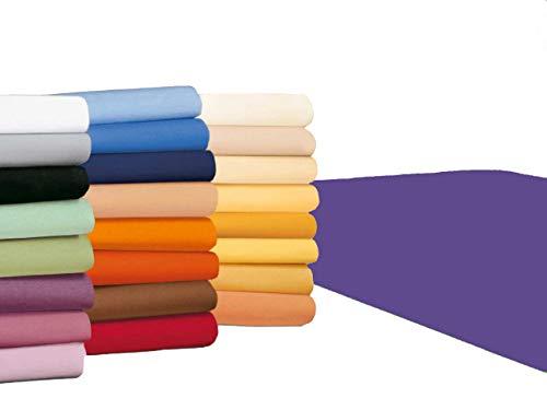 #21 badtex24 Jersey Spannbettlaken, Spannbetttuch, Bettlaken, 90x190 cm – 100x200 cm, Violett/Lila