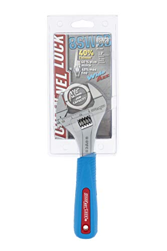 Channellock 8SWCB Slim Jaw 8-Inch WideAzz Adjustable Wrench | 1.5-Inch Jaw Capacity | Precise Design Grips in Tight Spaces | Measurement Scales for Easy Sizing of Diameters | CODE BLUE Comfort Grip