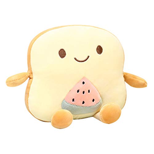 AKlamater Juguete de peluche de dinosaurio verde de peluche, almohada de pan tostado, juguete de felpa suave juguete de peluche creativo, lindo animal alegres, para adultos y niños (sandía)