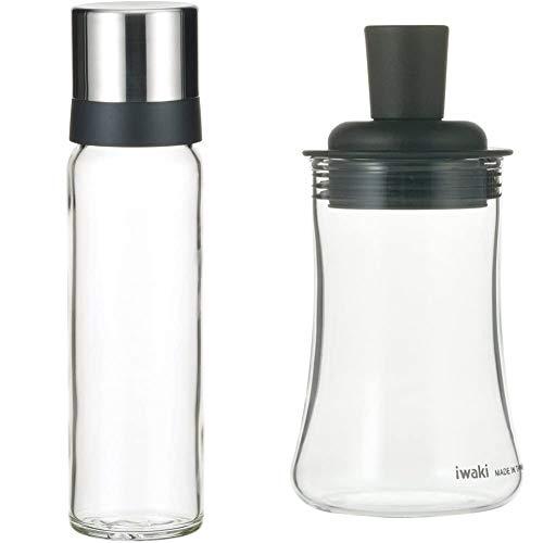 iwaki(イワキ) 耐熱ガラス 調味料入れ 醤油差し 液だれしない 250ml KS522-SVN & 耐熱ガラス ふりかけボトル ブラック KT5031-BKF【セット買い】