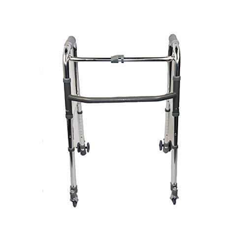 Deambulatore pieghevole 4 ruote alluminio - 2 ruote piroettanti - 2 ruote autobloccanti - Stabile