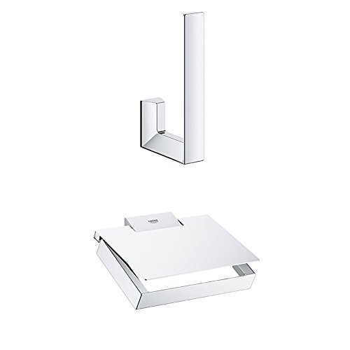 Grohe Selection Cube Reservepapierhalter, 40784000 + GROHE Selection Cube   WC-Papierhalter   mit Deckel   40781000